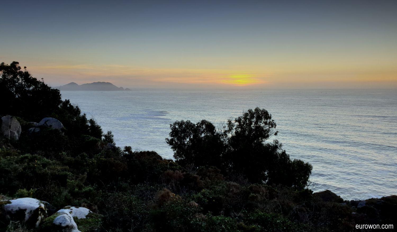 Puesta de sol en las islas Cíes