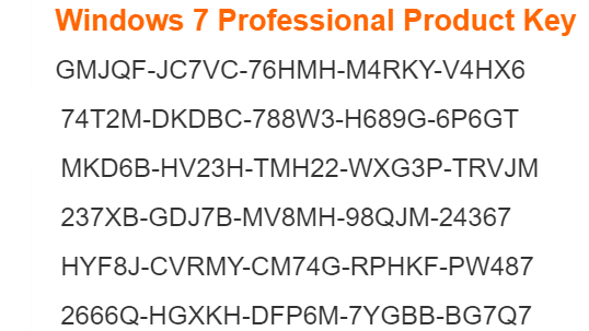 microsoft windows 7 professional product key
