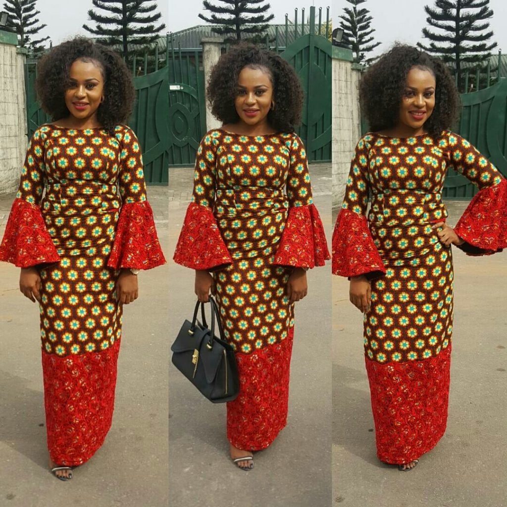 Ankara And Lace Combination Long Gown Styles Dezango
