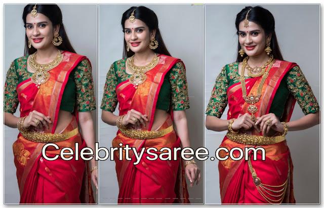 Jenny Honey Red Silk Saree