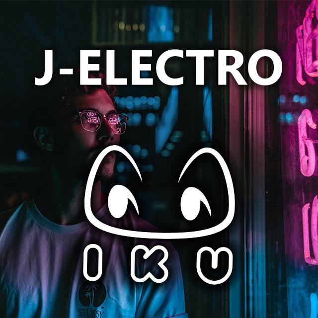 Imagen con el logotipo de DJ Iku y las letras J-Electro en blanco