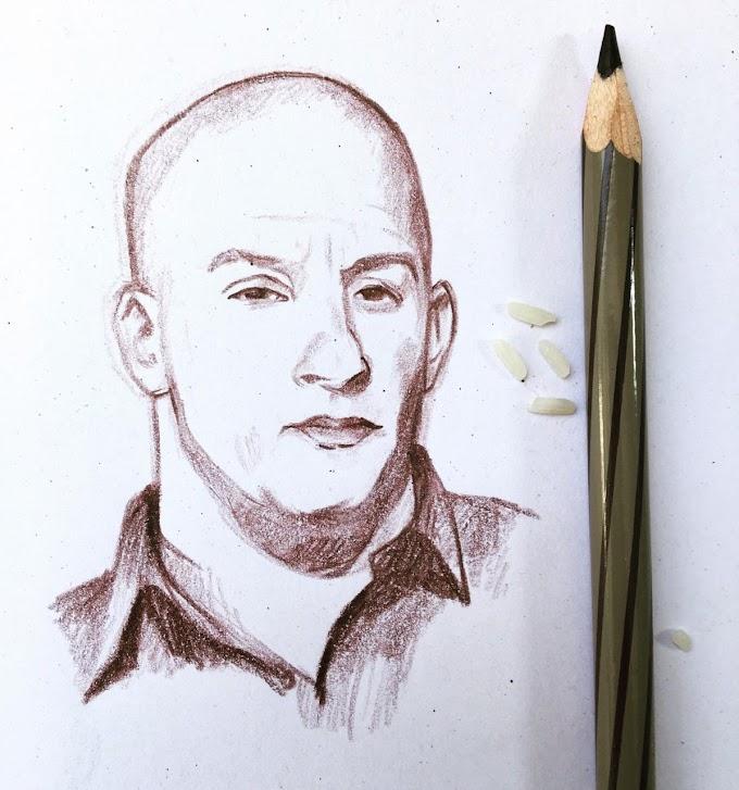 I Tried to draw Vin Diesel mini portrait in 30 minutes