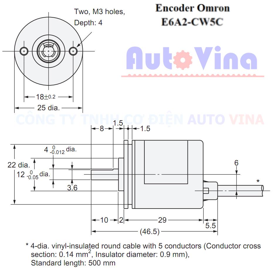 Kích thước Encoder Omron E6A2-CW5C, kích thước lắp đặt Encoder Omron E6A2-CW5C 500 xung