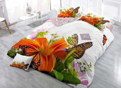 Butterfly and Lily Digital Printing 4-Piece Duvet Cover Sets