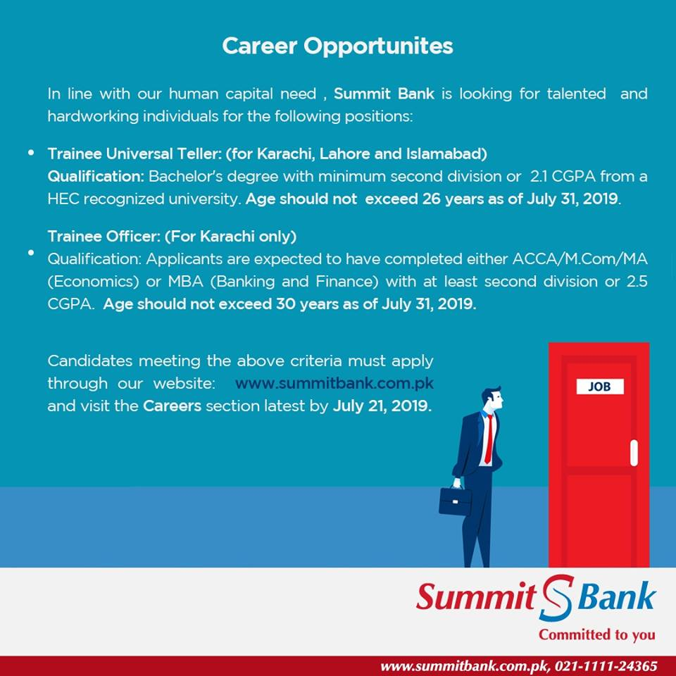 Jobs in Summit Bank , Summit Bank Jobs 2019 July for Trainee officer and Teller