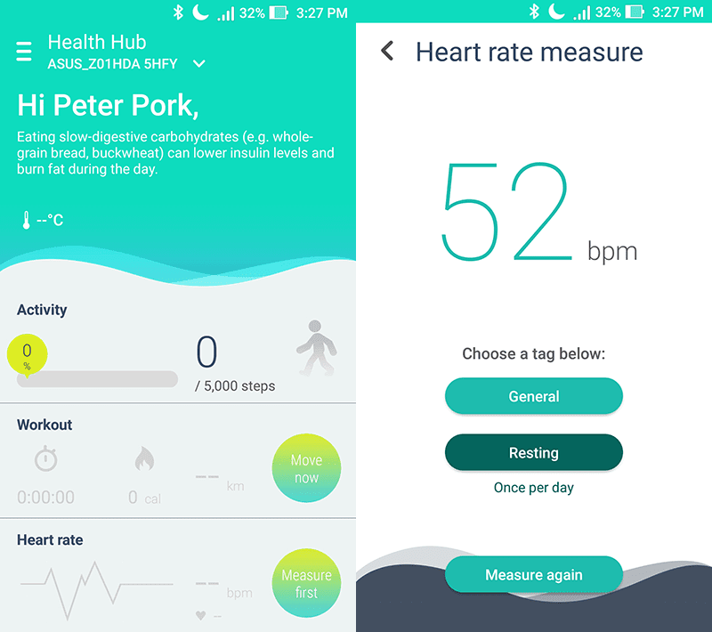 There's a health hub for fitness and health monitoring too
