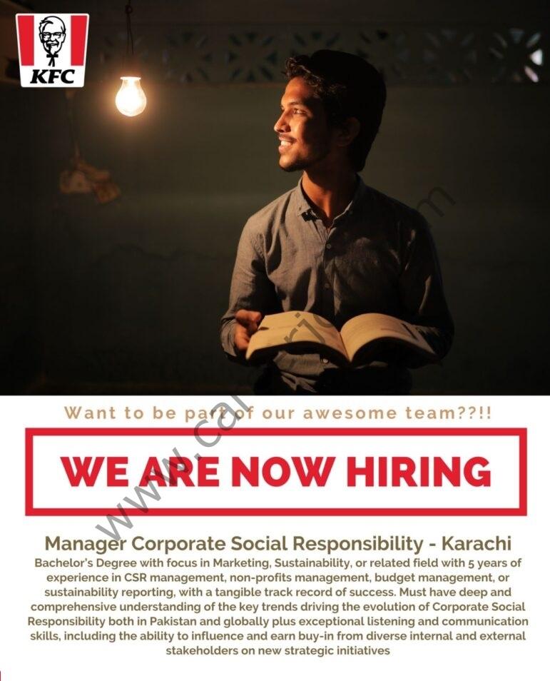 KFC Pakistan Jobs Manager Corporate Social Responsibility