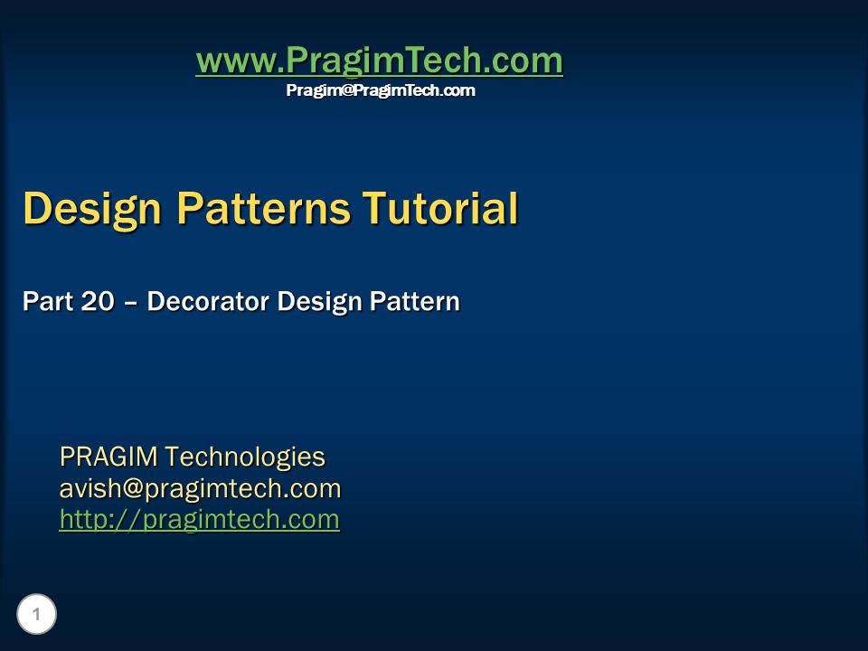 Sql server net and c video tutorial Decorator Design Pattern Simple Decorator Design Pattern C