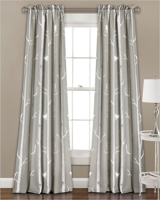 modern farmhouse grey white curtains for bedroom