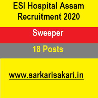 ESI Hospital Assam Recruitment 2020 - Sweeper (18 Posts)
