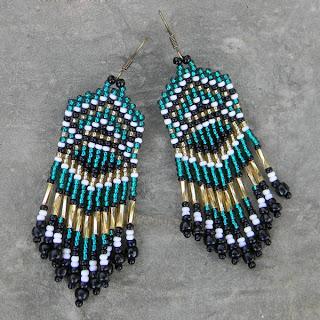 купить сережки в этническом стиле из бисера бисерные украшения этника