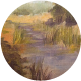 Painting the atmospheric perspective in a landscape painting.