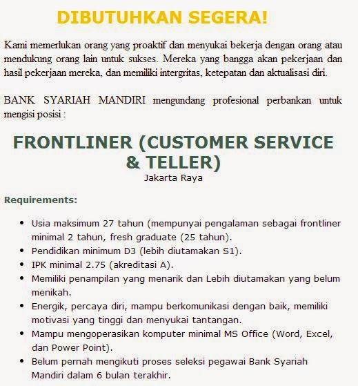 Tes Masuk Pt Tes Masuk Pt Rasyid13 Page 2 Lowongan Kerja Jakarta Juni 2014 Pt Bank Mandiri Syariah Loker