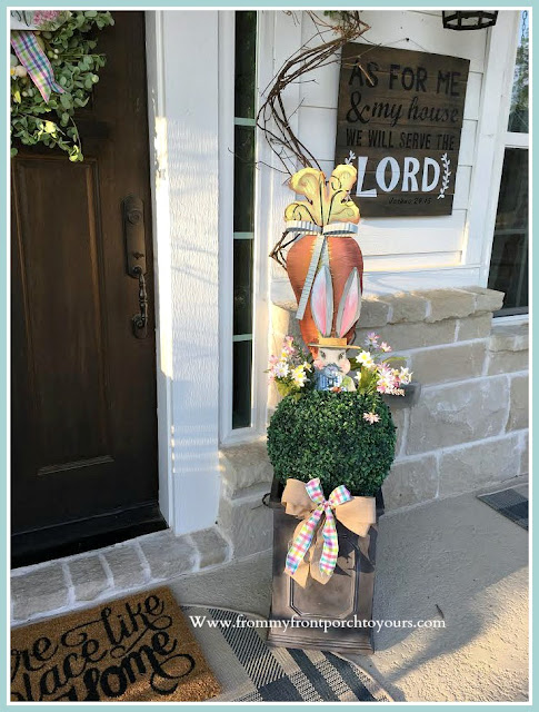 Spring Easter Front Porch-Topiary-DIY-Rabbit-Round Top Collection-Cottage Style-From My Front Porch To Yours