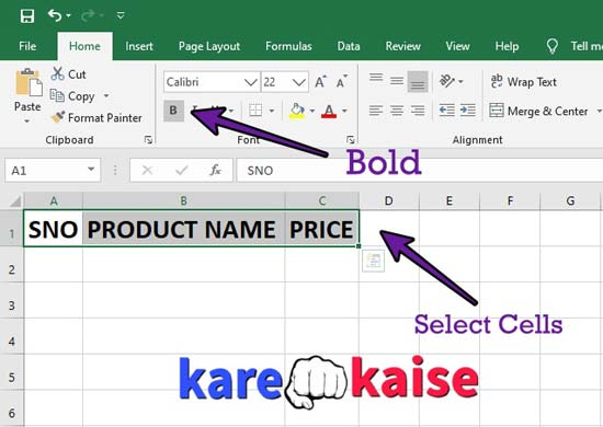 excel-me-table-bold-kaise-kare