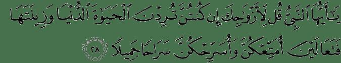 Surat Al Ahzab Ayat 28