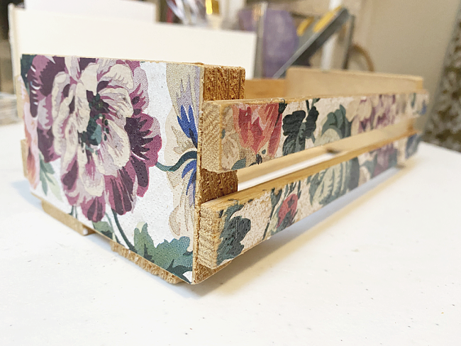 smooth finish on decoupaged crate