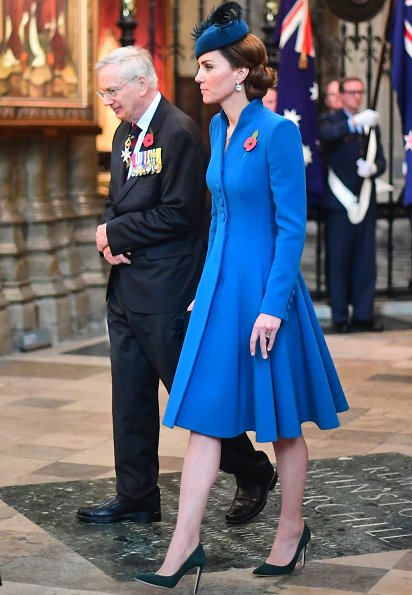 Kate Middleton wore Catherine Walker coat and Emmy London pumps, Kiki McDonough blue topaz diamond earrings