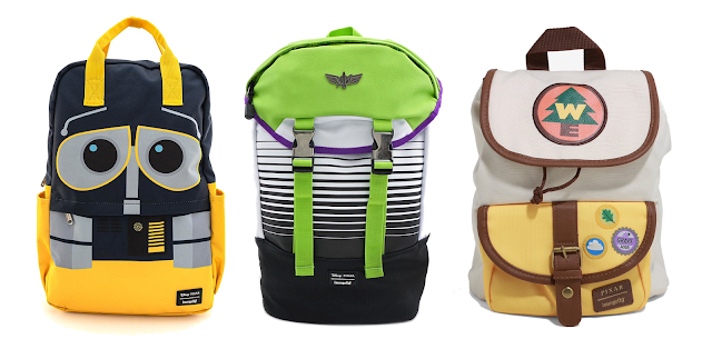 Pixar Fest Loungefly Backpack featuring Wall-e, Buzz Lightyear and Wilderness Explorer from UP