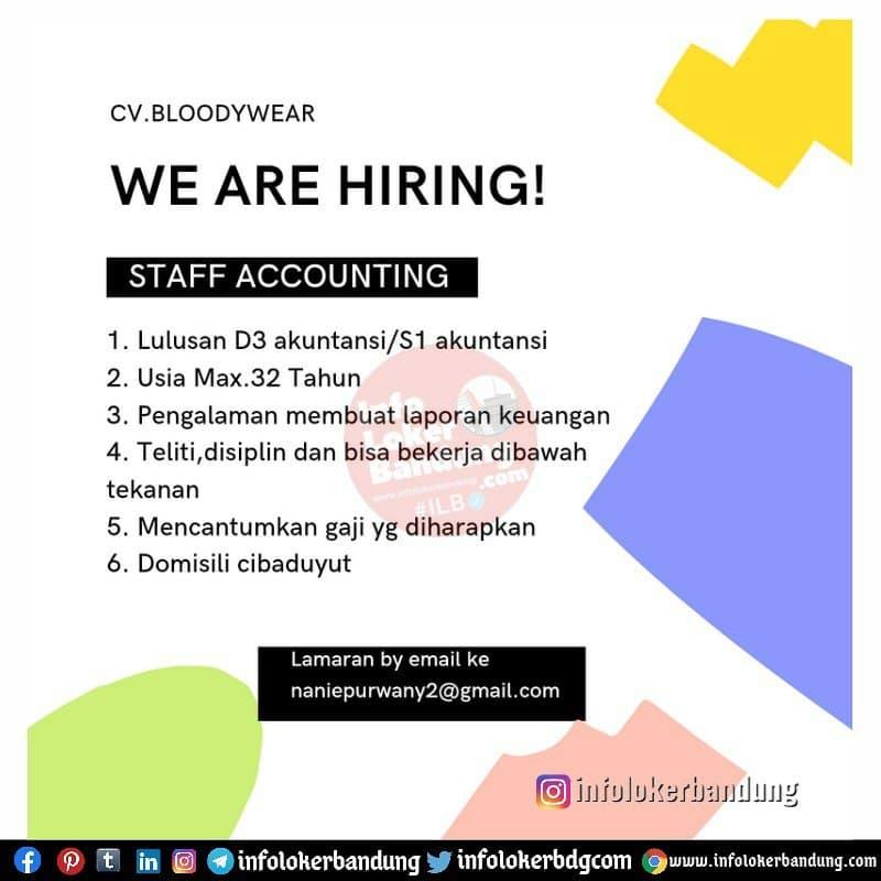 Lowongan Kerja  CV Bloodywear Bandung Mei 2021
