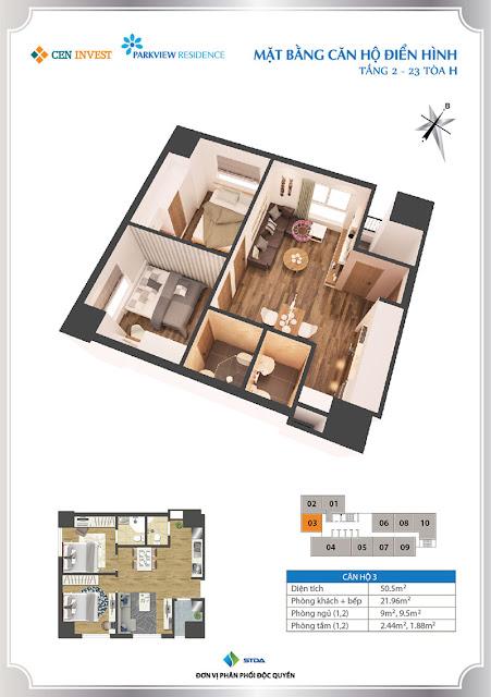 Thiết kế căn hộ 03 chung cư Park View Residence