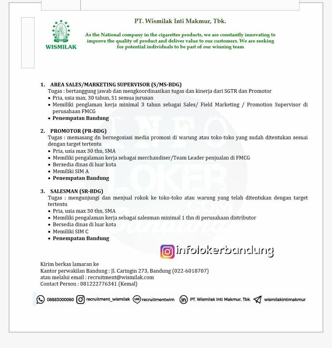 Lowongan Kerja PT. Wismilak Inti Makmur Tbk Bandung Maret 2018