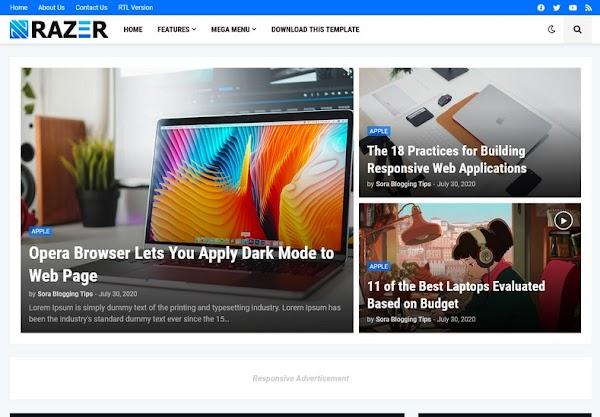 Razer Magazine Responsive Blogger Template