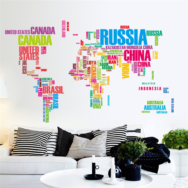World Map Wall Mural Color Wall Countries Name Wallpaper Livingroom