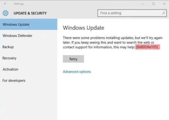 How-to Fix Windows 10 Update Error Code 0x8024a105