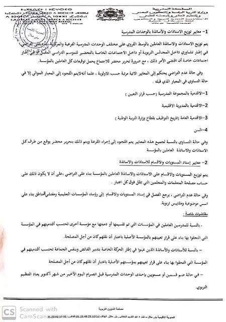 جديد مذكرة التنظيم التربوي و إسناد الأقسام بني ملال 2019