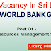 Vacancies In World Bank Group  Post Of - Water Resources Management Specialist