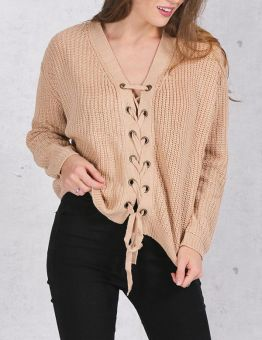Front Lace Up Knitted Sweater for Women