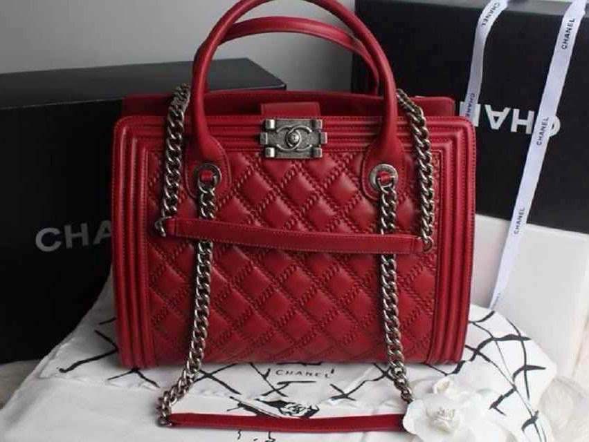CHANEL BAGS REPLICA: Chanel Red Boy Shopping Tote Large Bag Chanel Boy Bag Red 2013