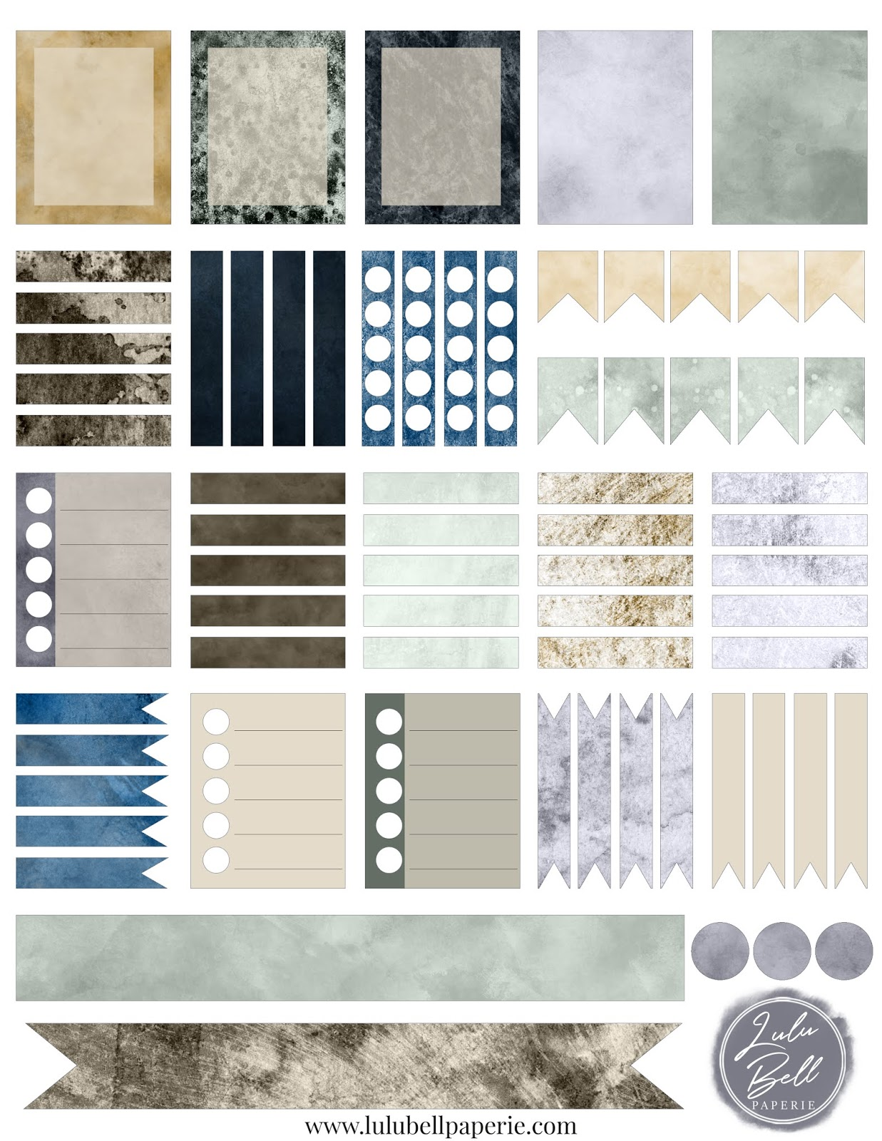 Free Wedding Planner Sticker Sheet Printable - Dusty Blue Yellow and Green Watercolor Textures