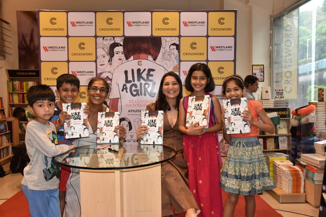 Author Aparna Jain & art director Ayesha Broacha with kids at Crossword Bookstores Kemps Corner