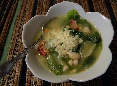 Bowl of Escarole Bean Soup with Grated Parmesan
