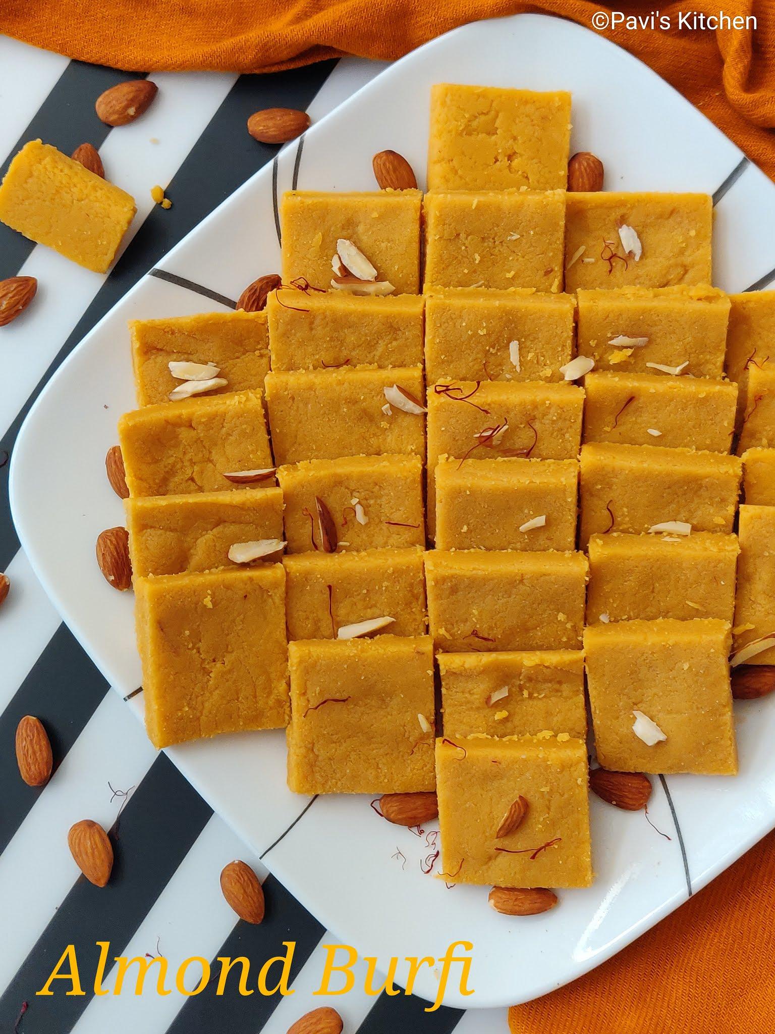 Kesar Badam Burfi Recipe | Almond Burfi Recipe | Kesar Badam Katli