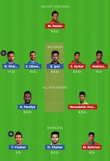 Dream11 team for India vs Bangladesh 1st T20 Match | Fantasy cricket tips | Playing 11 | India vs Bangladesh dream11 Team | dream11 prediction |