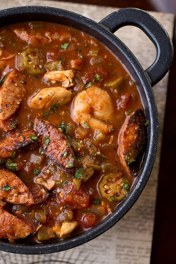Gumbo-laya Stew with Spicy Sausage, Chicken, Shrimp and Okra