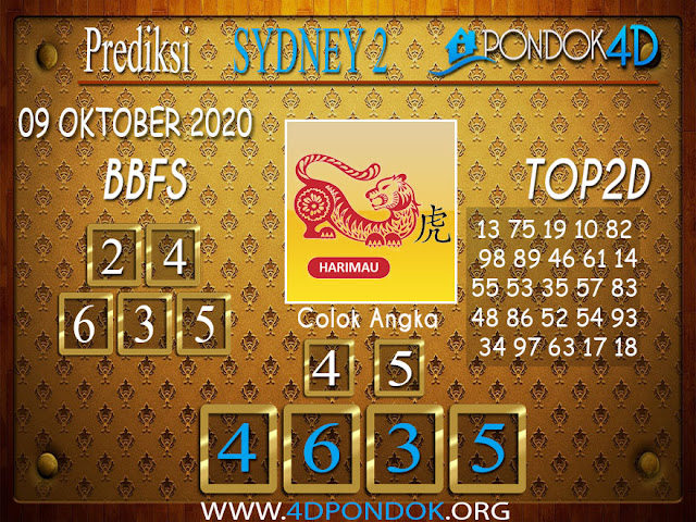 Prediksi Togel SYDNEY 2 PONDOK4D 09 OKTOBER 2020