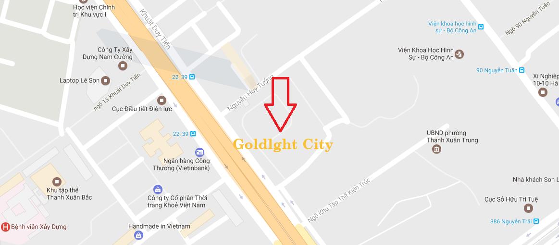 Vị trí dự án chung cư Goldlight Complex City 168 Khuất Duy Tiến
