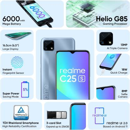 Realme Launched 6000 mah Battery Capacity with MediaTek Helio g85 Processor Budget Mobile Phone Realme C25s