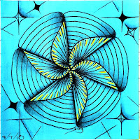 Inspired by Summer Tangles September 1, a tiny tile with Maryhill and Florz-Starz