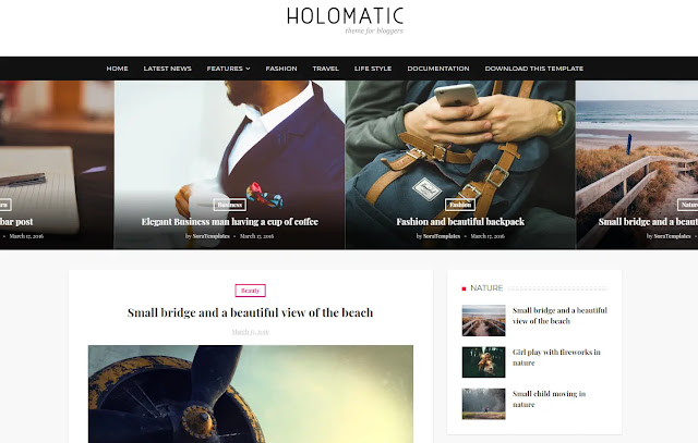 Holomatic Responsive Personal Blog Fashions Lifestyle Blogger Template Theme