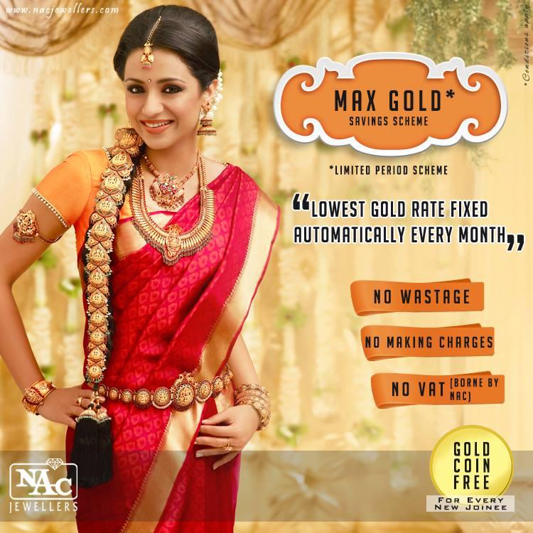 Gold Necklace Blog South Indian Actress Trisha Krishnan