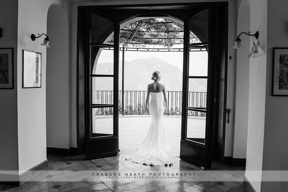 Bride portrait with Ravello view