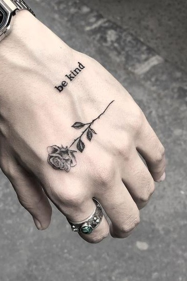 Rose + Text Tattoo on Hand