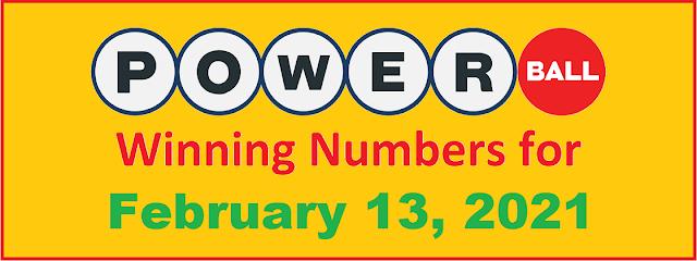 PowerBall Winning Numbers for Saturday, February 13, 2021