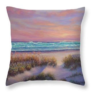 Cap Cod Throw Pillow Home Decor of Coastal Beach Sunset