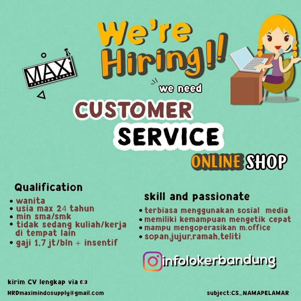 Lowongan Kerja Customer Service Online Shop Maximindo Supply Januari 2018